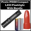 Fenix PD30BK PD30 Compact LED Flashlight Black Bundle With Red Diffuser and Batteries